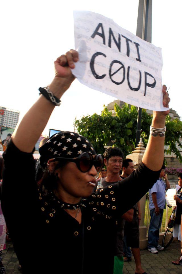 Pour les manifestants, l'important est de se montrer. Photo MB.